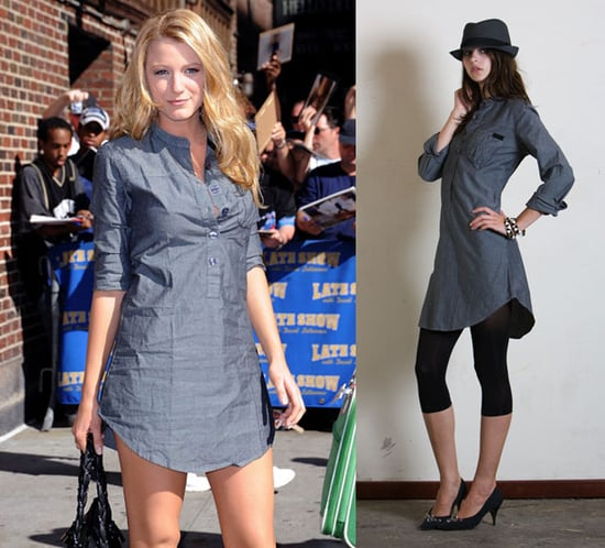 Blake Lively Wears Alpinestars Chambray Shirtdress to The Late Show With David Letterman