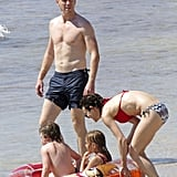 Damian Lewis hit the beach with his wife and kids.