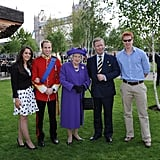 Royal family impersonators pose in London.