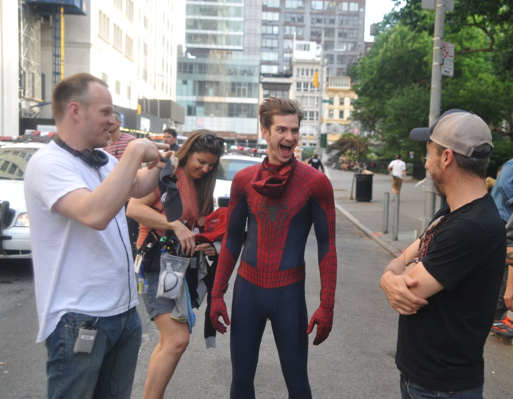 Andrew Garfield joked around with the crew on his Spider-Man 2 set in NYC.