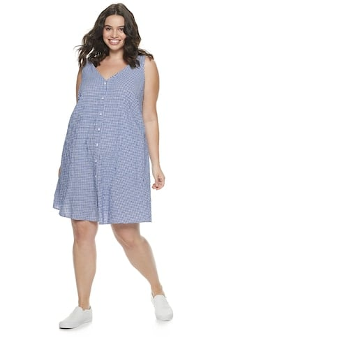 POPSUGAR Plus Size Button-Front Dress | Cheap Summer Dresses From ...