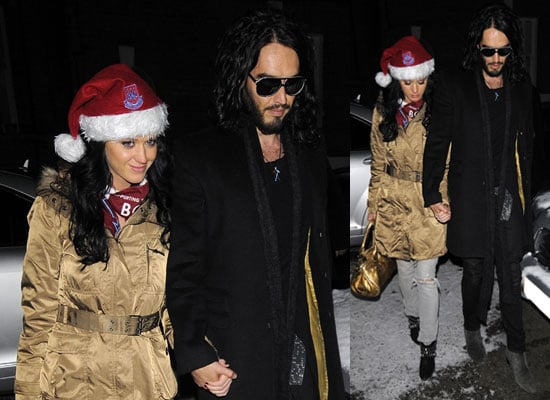 Photos of Russell Brand and Katy Perry Holding Hands After West Ham Match Katy Wearing West Ham Santa Hat