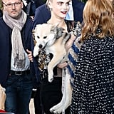 Cara Delevingne Brings a Dog to the Chanel Couture Show 2016