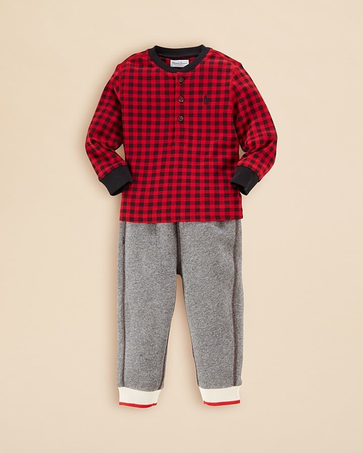 Ralph Lauren Checked Henley & Fleece Pants Set