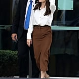 Angelina Wearing the Pumps With a Brown Pencil Skirt