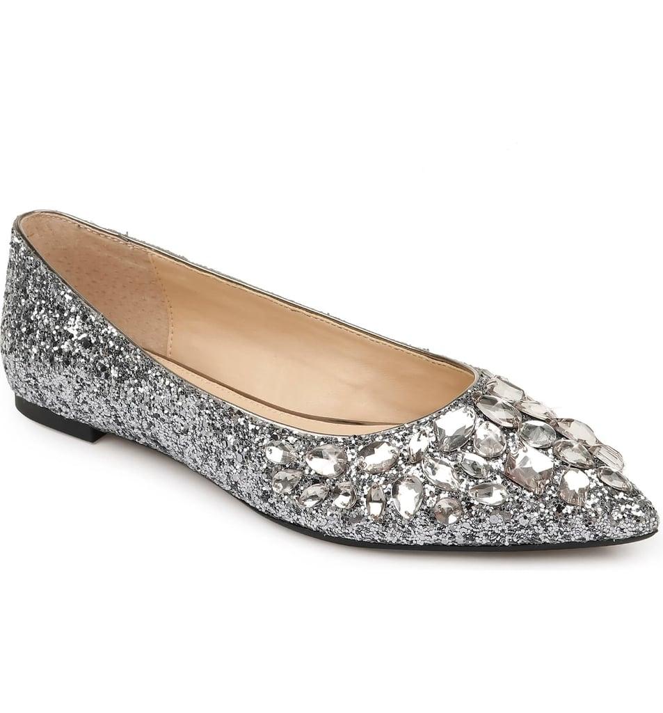 Jewel Badgley Mischka Ulanni Embellished Pointy-Toe Glitter Flat