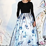 Natalia Vodianova was a vision in a look straight off the Christian Dior Spring 2103 runway — an iridescent, floral-print organza skirt with a long-sleeved black top piece — which she chose for the Bal de la Rose du Rocher in aid of the Princess Grace Foundation in Monaco.