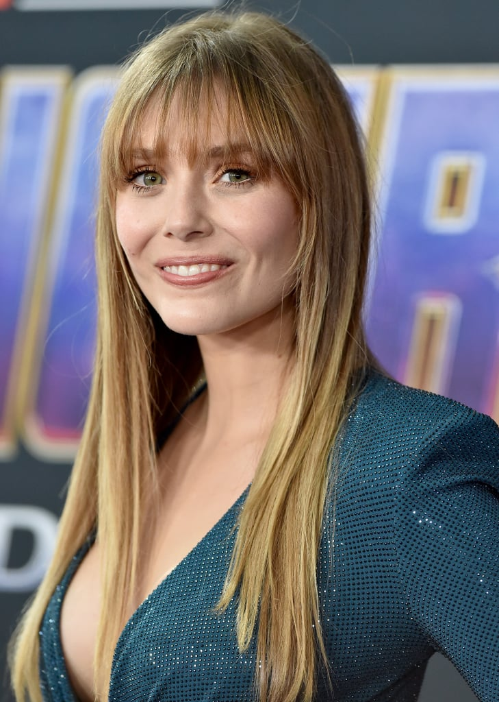 Elizabeth Olsen's Wispey Bangs and Long Layers