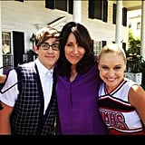 Kevin McHale and Becca Tobin posed with Glee guest star, Katey Sagal. Source: Instagram user kevinmchale