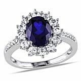 Delmar Sterling Silver Diamond & Created Sapphire Ring