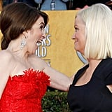 Tina and Amy made funny faces at each other on the red carpet at the 2011 Screen Actors Guild Awards.