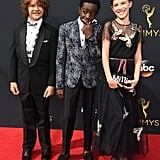 Gaten Matarazzo, Caleb McLaughlin, and Millie Bobby Brown at the 2016 Emmy Awards