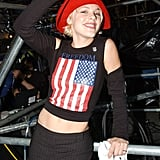 Pink was all about the red, white, and blue at a Washington DC concert in October 2001.
