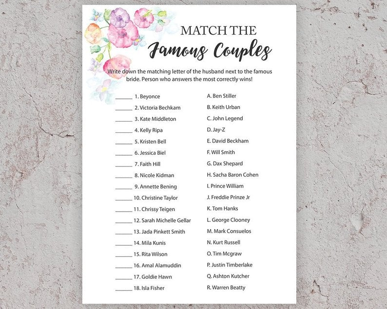 picture about Printable Bridal Shower Games titled Renowned Partners Printable Bridal Shower Sport Printable