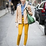 Build a brilliant look with brightly colored denim that pops against all of your Fall staples. Source: Adam Katz Sinding