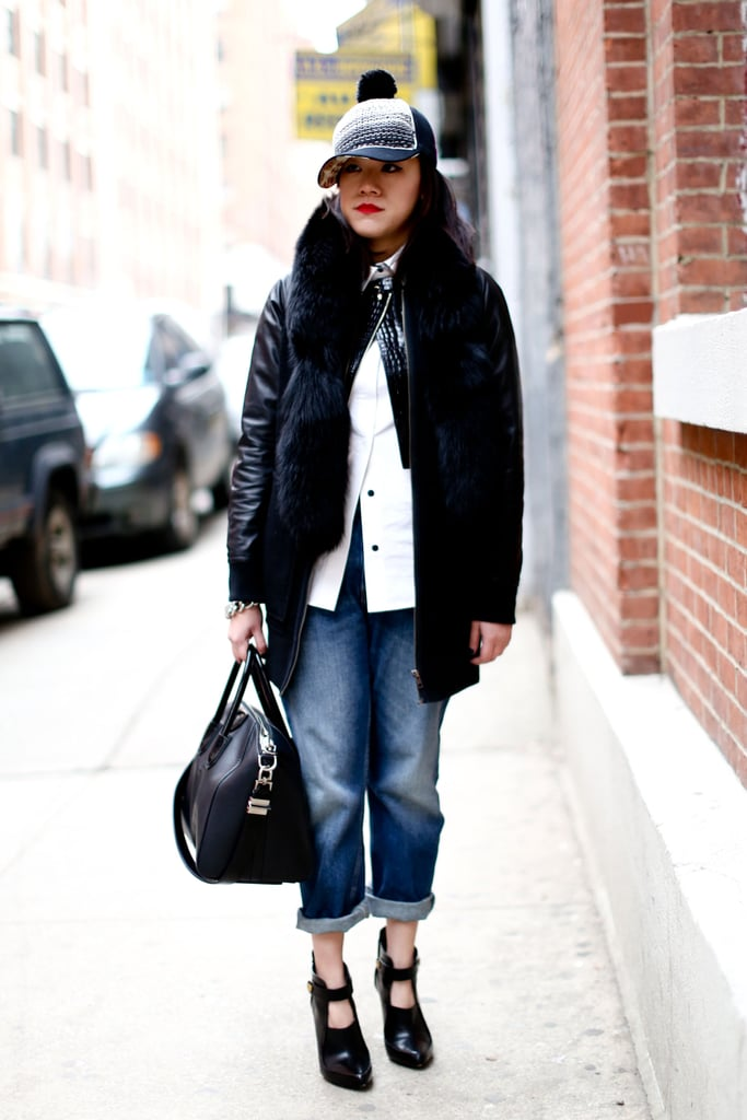 A quirky hat and hot heels elevated easy denim.