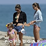 Alessanda Ambrosio and her daughter Anja Mazur wore bathing suits on the beach.