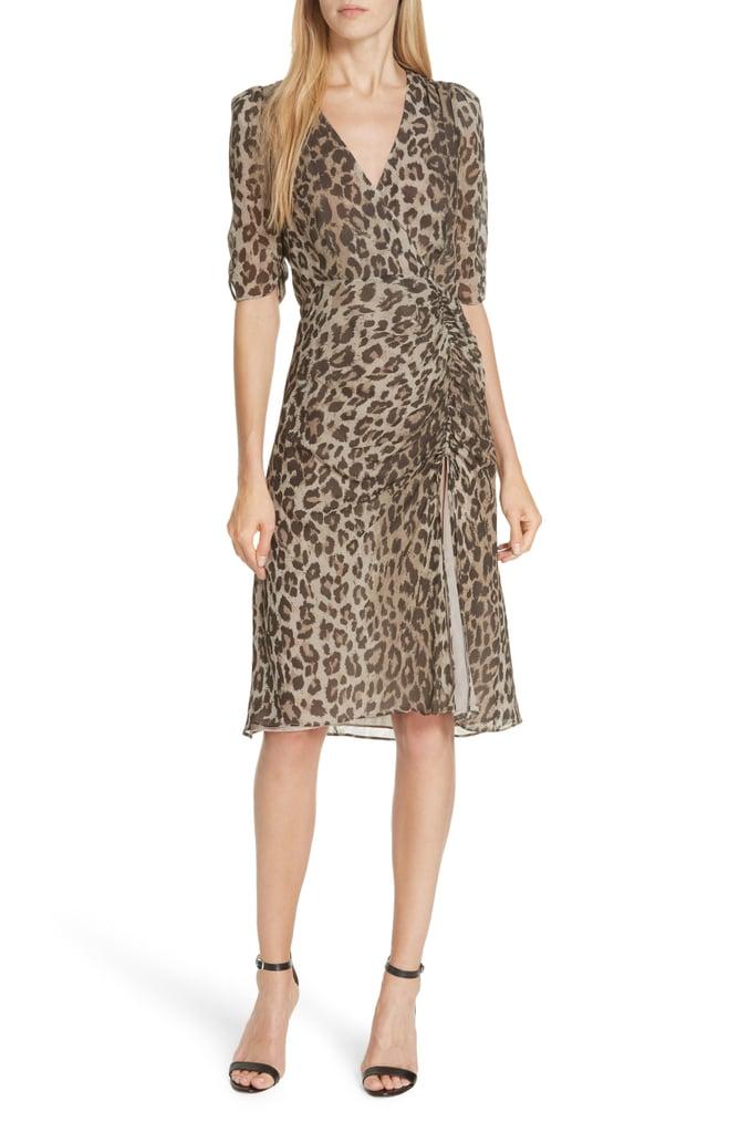 Nicholas Ruched Leopard Print Silk Dress