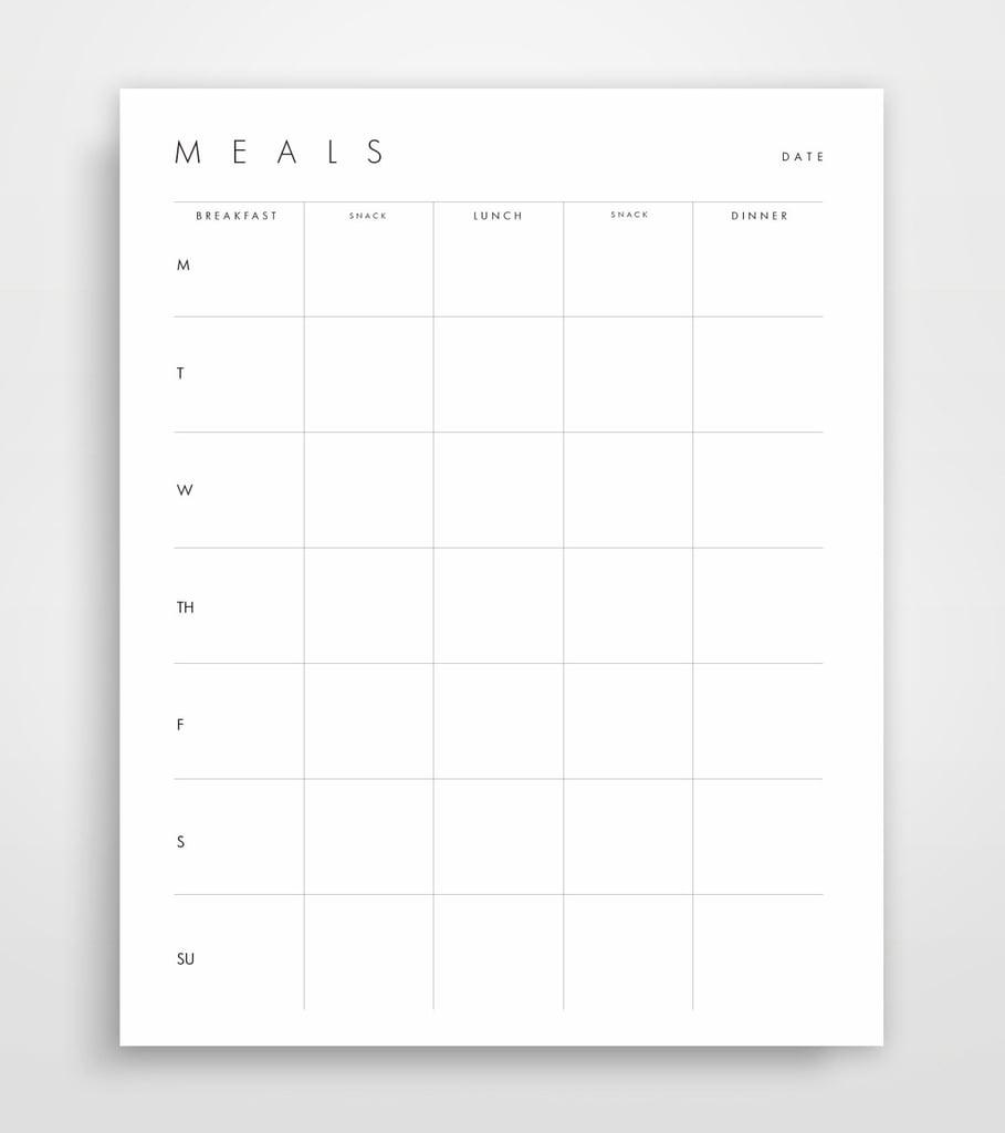 printable meal planning sheets popsugar fitness australia