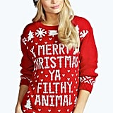 Boohoo Eva Merry Christmas Ya Filthy Animal Jumper
