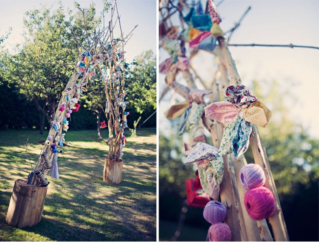 Are you the crafty type? Channel that DIY charm with fabric flowers, yarn, wooden monogram letters, and the rest of your favorite go-to materials. Photos by Clayton Austin via Green Wedding Shoes
