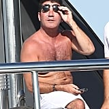 Simon Cowell worked on his tan aboard a yacht.