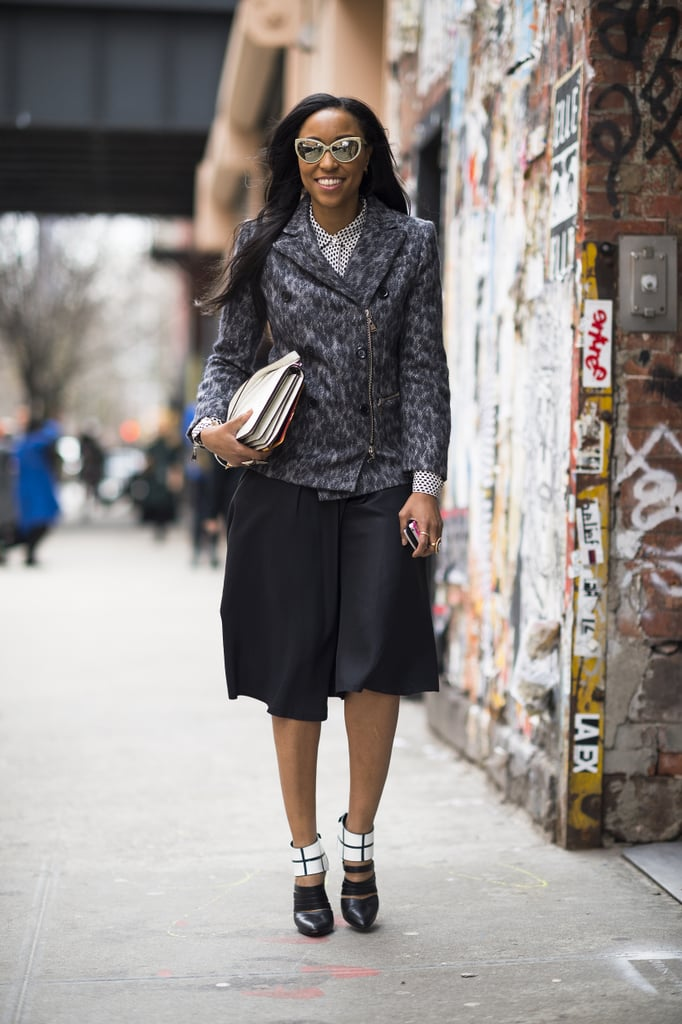 Shiona Turini bared a little leg in tomboy-style shorts, then finished her look with a tweedy jacket. Source: Le 21ème | Adam Katz Sinding