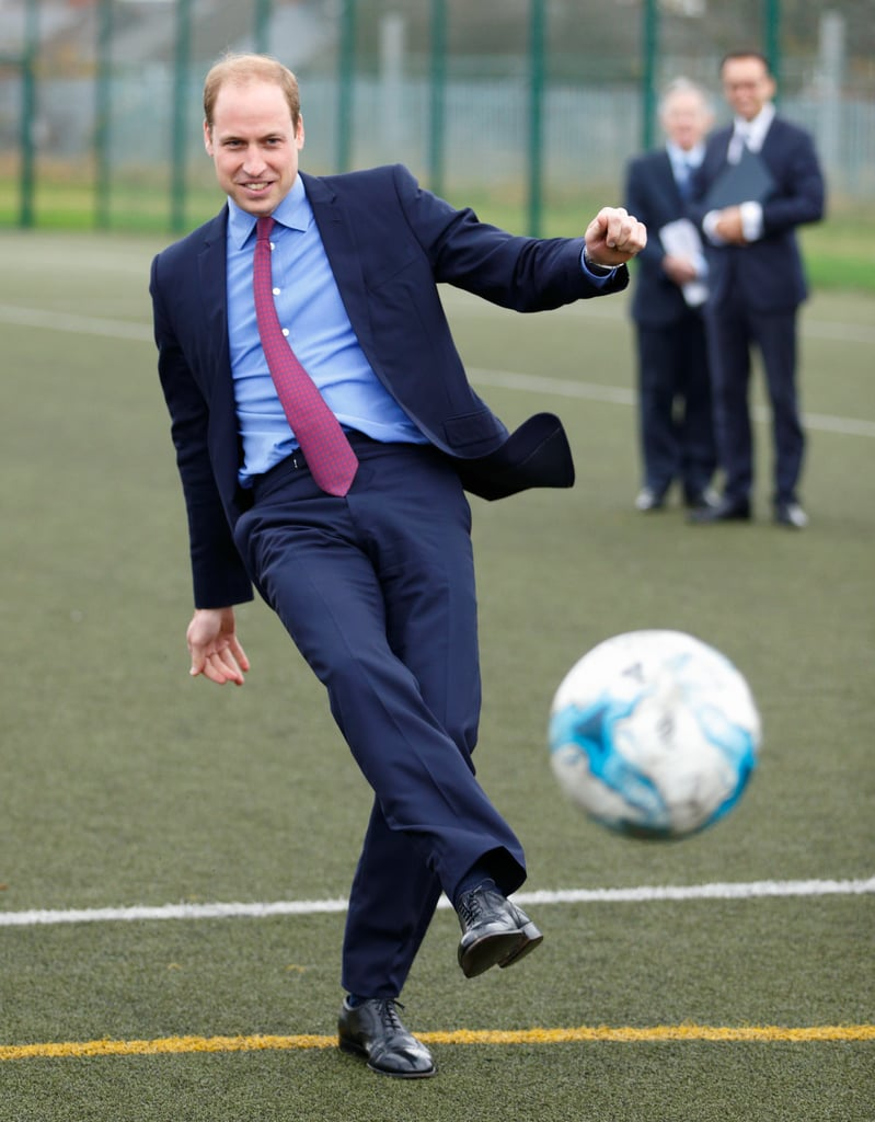 The royal enjoyed a game of soccer when he visited Saltley Academy in Birmingham, England, back in December 2015.