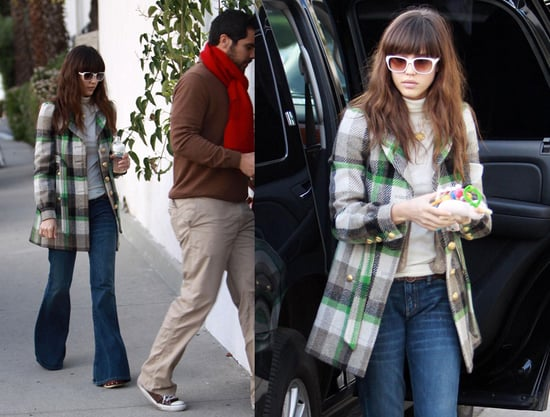 Jessica Alba Attends a Friend's Party in Plaid Juicy Couture Coat