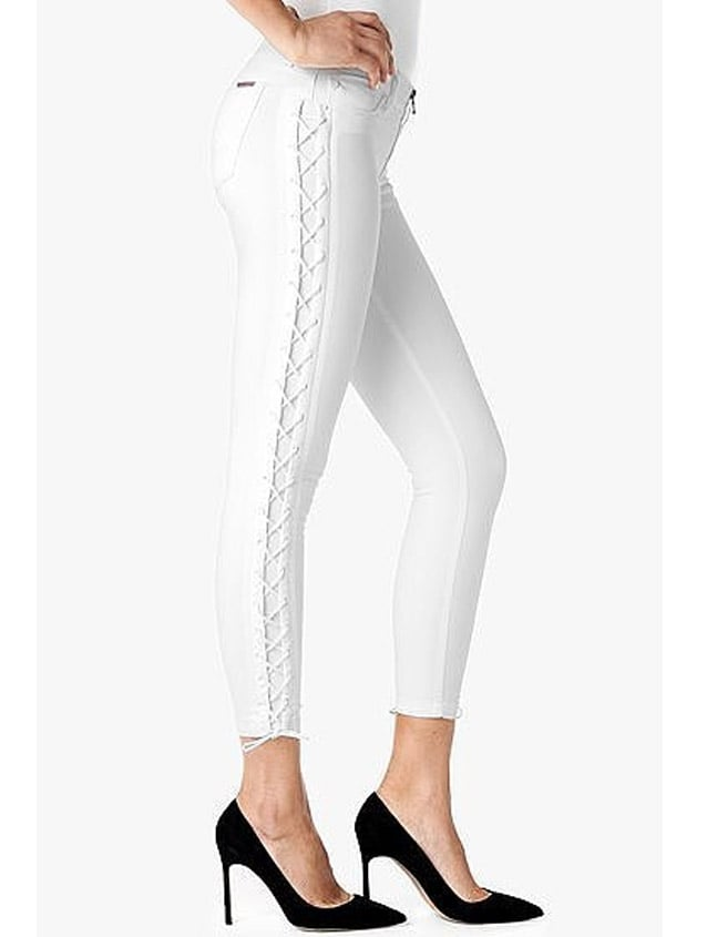 Hudson 'Raven' Lace Up Crop Super Skinny Jean ($148)