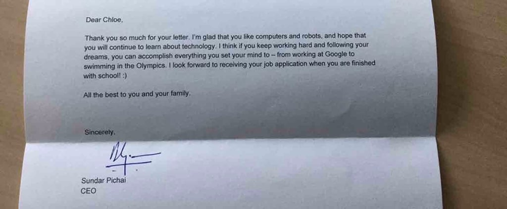 Google CEO's Letter to Little Girl Asking For a Job