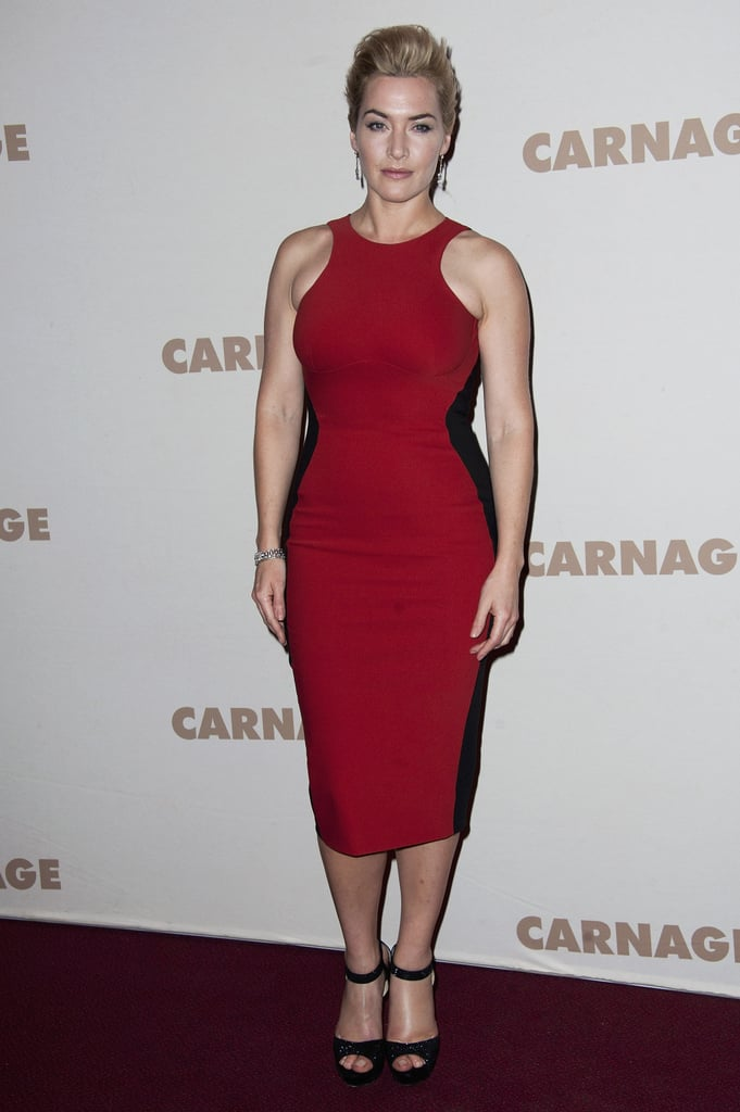 Kate Winslet wore a familiar dress last night to the Paris screening of Carnage. Kate wore the same Stella McCartney dress, but in red, as she wore during a photocall for the same film at Cannes in early September. Yesterday, Kate posed for photos on the red carpet with her costar John C. Reilly and director Roman Polanski. She didn't, though, have the company of boyfriend Ned Rocknroll. The couple were together in recent weeks for a trip to America, where they visited San Francisco and Upham, NM. Following a stop back in their native UK, Kate and Ned popped up in NYC with her little ones Mia and Joe.