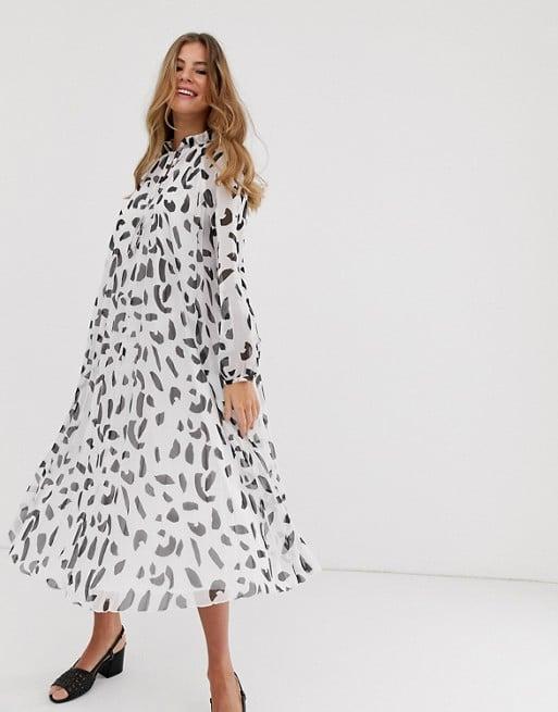 ASOS Design Pleated Trapeze Midi Dress With Tie Neck in Splodge Print