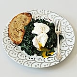Vegetarian: Spicy Garlic Kale With Poached Eggs