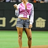 In May 2008, Mariah Carey traded spikes for high heels to throw out the first pitch at a Japanese professional baseball match in Tokyo.