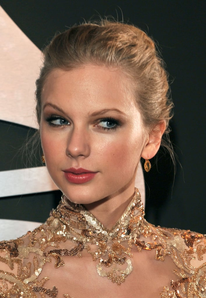 Taylor Swift wore her hair up.