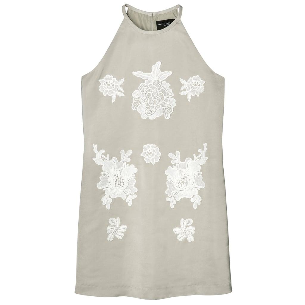 Girls' Sage Green High Neck Floral Appliqué Dress ($25)