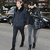 Out and about with husband Jamie Hince in London, Kate gave her denim and leather a cool-girl twist with a cap.