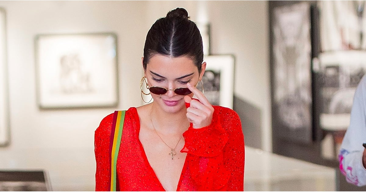 89a8f0d7256a67 Kendall Jenner Wearing Sheer Red Top