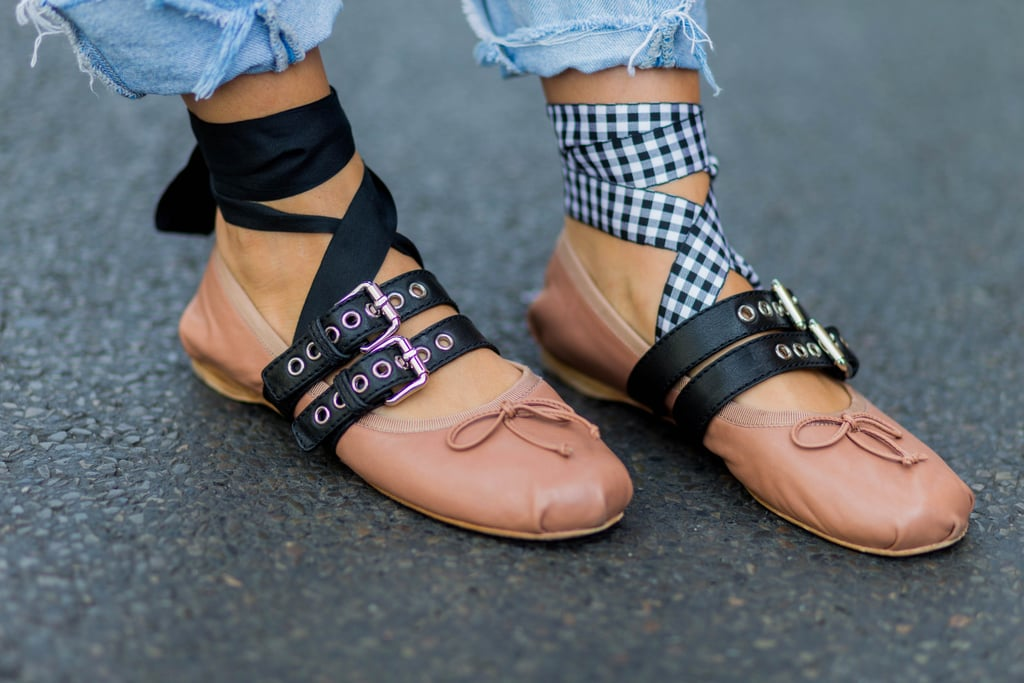 Cheap Gingham Ribbon Shoes