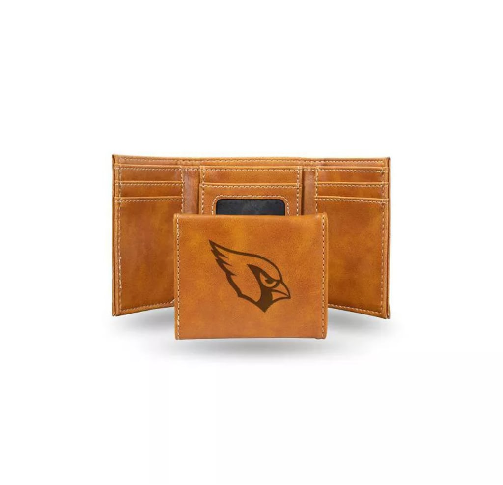 NFL Arizona Cardinals Laser Engraved Brown Leather Trifold Wallet