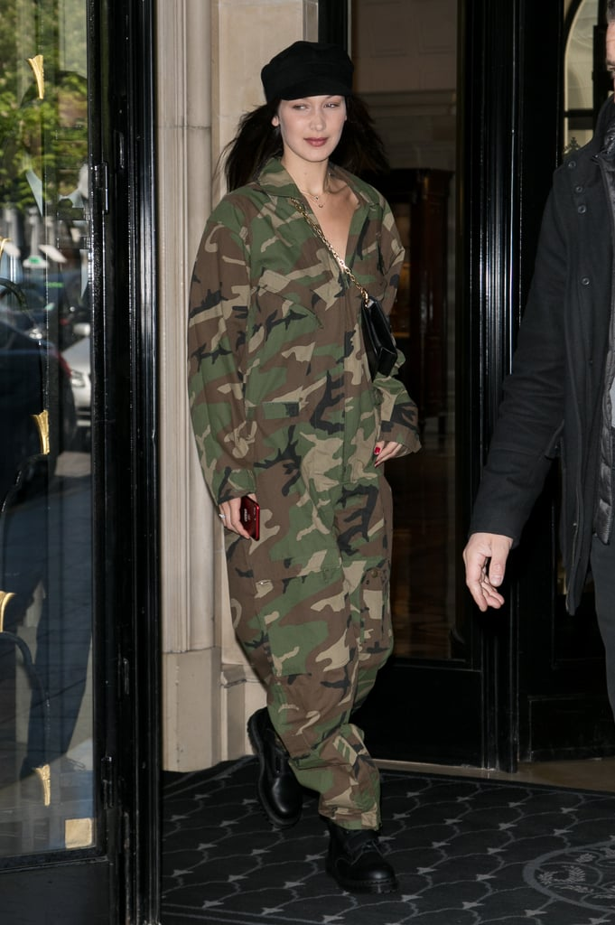Bella Hadid Wore a Baggy Camo Jumpsuit