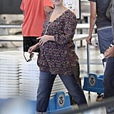 Reese Witherspoon arrived at LAX in a floral shirt.