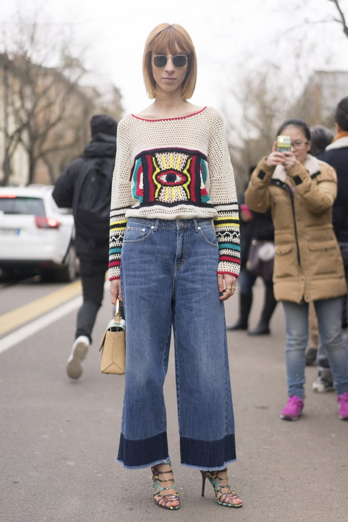 An Embroidered Sweater With Raggedy Denim and Caged Shoes