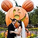 This Couple Got to Take Their Wedding Photos Around Disneyland With the Halloween Decor!