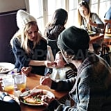 Rachel Zoe and Rodger Berman eat out with Skyler.