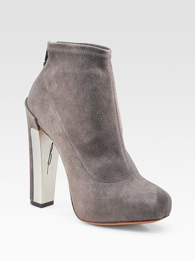 Edeline Gray Stretch Suede Ankle Boots ($450)