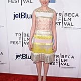 Michelle Williams was pretty in pink and yellow at the Tribeca Film Festival.