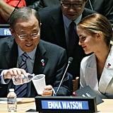 Emma sat next to UN Secretary-General Ban Ki-moon.
