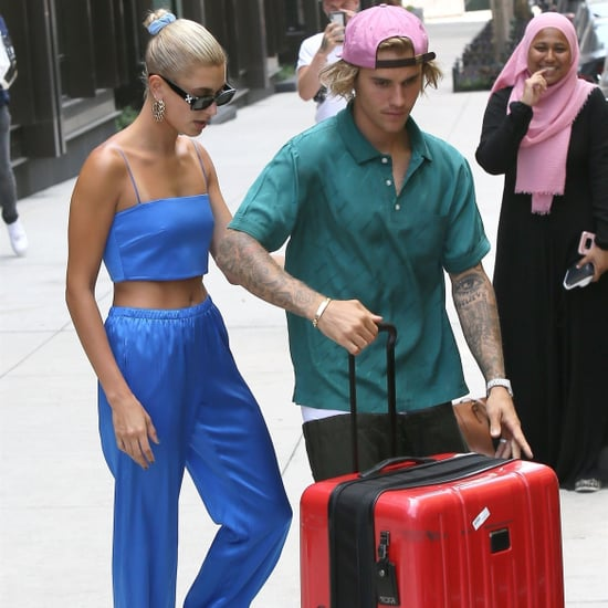 Hailey Baldwin Blue Crop Top and Pants With Justin Bieber